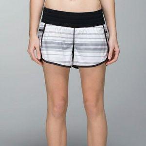 LULULEMON gray and white stripe tracker shorts
